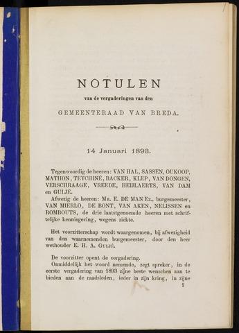 Breda - Notulen van de gemeenteraad 1893-01-01