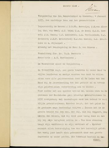 Ginneken en Bavel - Notulen van de gemeenteraad 1933-01-01