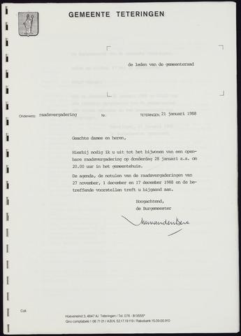 Teteringen - Notulen en bijlagen van de gemeenteraad 1988