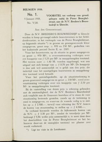 Breda - Bijlagen bij de notulen van de gemeenteraad 1938-01-01