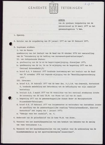 Teteringen - Notulen en bijlagen van de gemeenteraad 1977-03-22