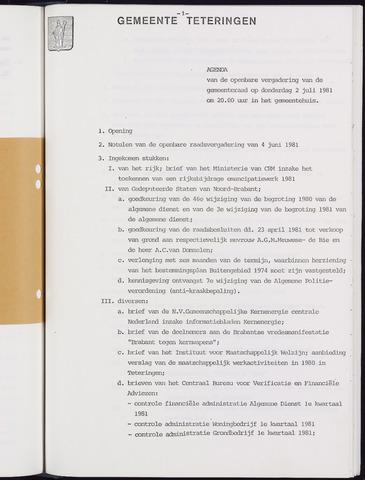 Teteringen - Notulen en bijlagen van de gemeenteraad 1981-07-02
