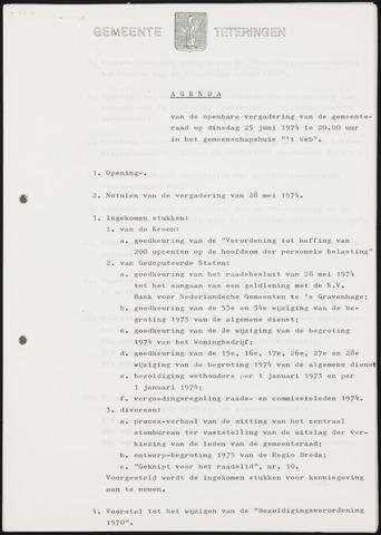 Teteringen - Notulen en bijlagen van de gemeenteraad 1974-06-25