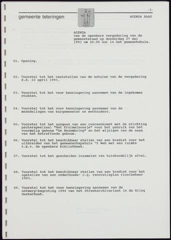 Teteringen - Notulen en bijlagen van de gemeenteraad 1993-05-27