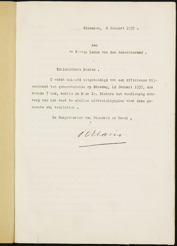 Ginneken en Bavel - Bijlagen bij de notulen van de gemeenteraad 1937-01-01