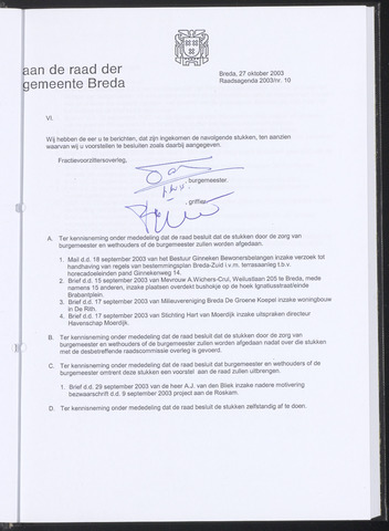 Breda - Bijlagen bij de notulen van de gemeenteraad 2003-10-27