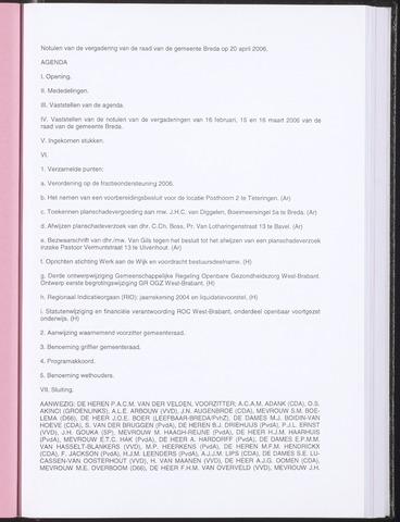 Breda - Notulen van de gemeenteraad 2006-04-20