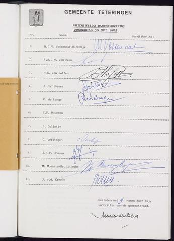 Teteringen - Notulen en bijlagen van de gemeenteraad 1985-04-25