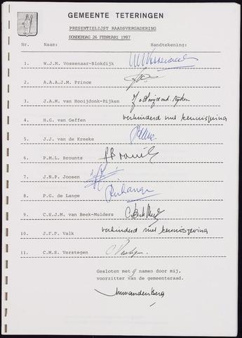 Teteringen - Notulen en bijlagen van de gemeenteraad 1987-02-26
