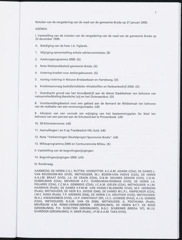 Breda - Notulen van de gemeenteraad 2000-01-01