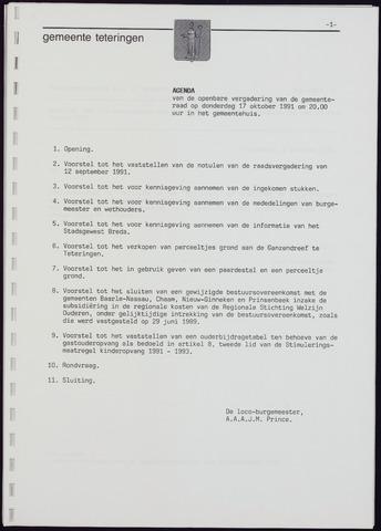 Teteringen - Notulen en bijlagen van de gemeenteraad 1991-10-17