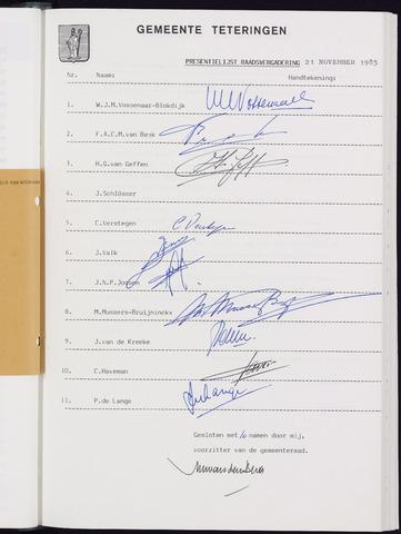 Teteringen - Notulen en bijlagen van de gemeenteraad 1985-11-21