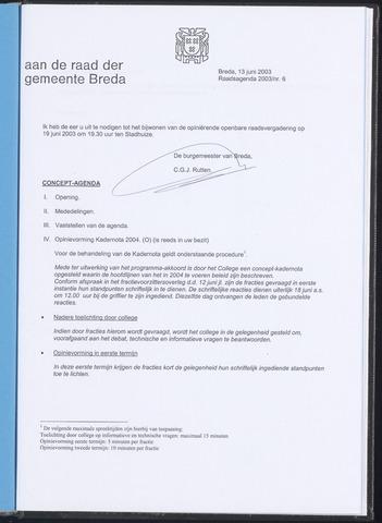Breda - Bijlagen bij de notulen van de gemeenteraad 2003-06-13