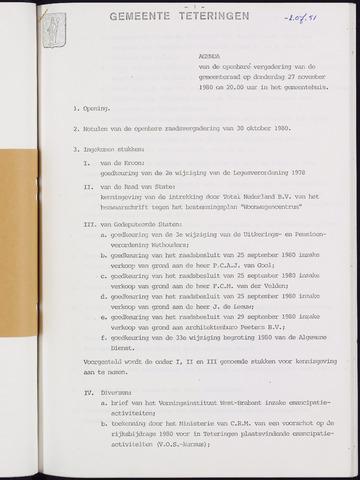 Teteringen - Notulen en bijlagen van de gemeenteraad 1980-11-27