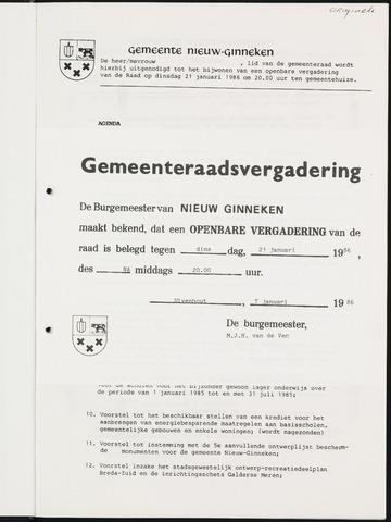 Nieuw-Ginneken - Notulen en bijlagen van de gemeenteraad 1986