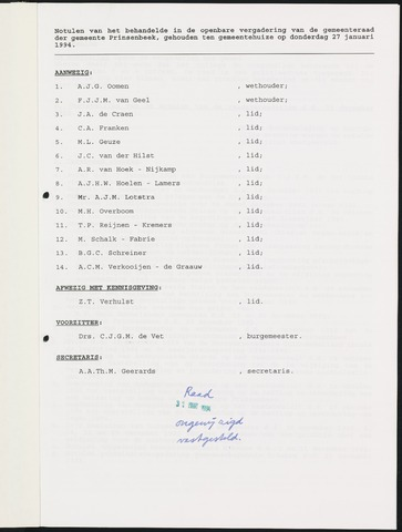 Prinsenbeek - Notulen van de gemeenteraad 1994