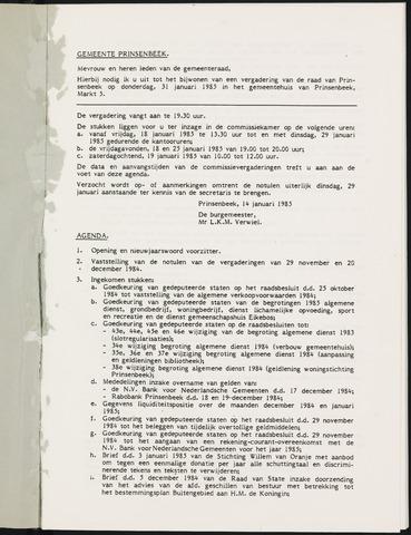 Prinsenbeek - Notulen van de gemeenteraad 1985