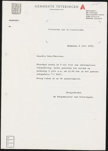 Teteringen - Notulen en bijlagen van de gemeenteraad 1975-07-09