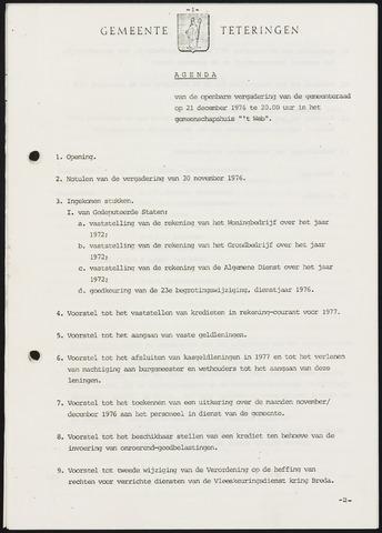 Teteringen - Notulen en bijlagen van de gemeenteraad 1976-12-21