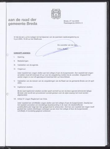 Breda - Bijlagen bij de notulen van de gemeenteraad 2003-05-27