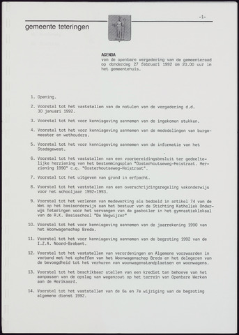 Teteringen - Notulen en bijlagen van de gemeenteraad 1992-02-27