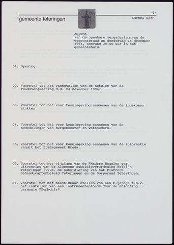 Teteringen - Notulen en bijlagen van de gemeenteraad 1994-12-15