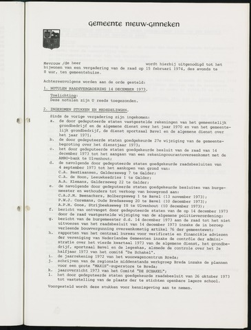 Nieuw-Ginneken - Notulen en bijlagen van de gemeenteraad 1974