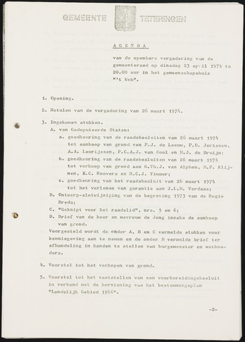 Teteringen - Notulen en bijlagen van de gemeenteraad 1974-04-23