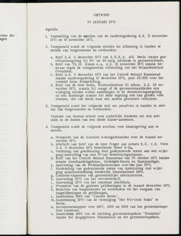Breda - Notulen van de gemeenteraad 1972-01-01