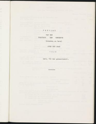 Ginneken en Bavel - Verslagen van de toestand van de gemeente 1920