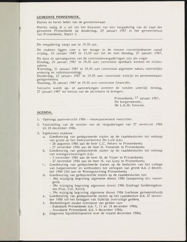 Prinsenbeek - Notulen van de gemeenteraad 1987
