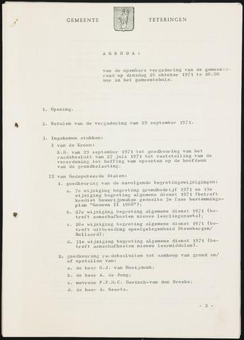 Teteringen - Notulen en bijlagen van de gemeenteraad 1971-10-26