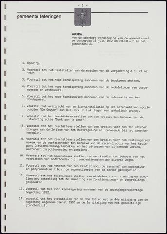 Teteringen - Notulen en bijlagen van de gemeenteraad 1992-07-16