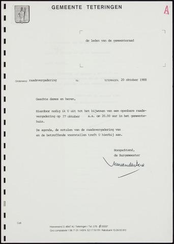 Teteringen - Notulen en bijlagen van de gemeenteraad 1988-10-27