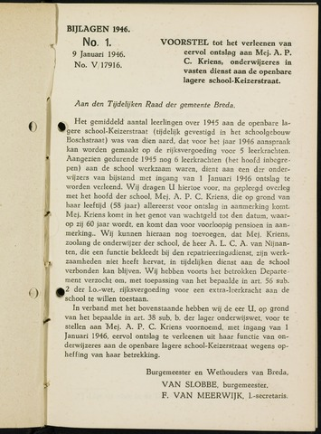 Breda - Bijlagen bij de notulen van de gemeenteraad 1946-01-01