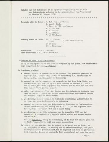 Prinsenbeek - Notulen van de gemeenteraad 1970