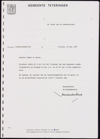 Teteringen - Notulen en bijlagen van de gemeenteraad 1987-05-26