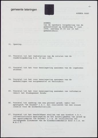 Teteringen - Notulen en bijlagen van de gemeenteraad 1996-06-27