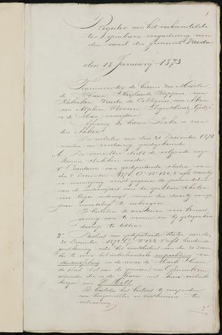 Breda - Notulen van de gemeenteraad 1873