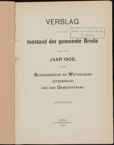 Breda - Verslagen van de toestand van de gemeente 1908