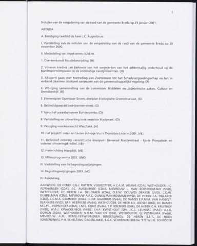 Breda - Notulen van de gemeenteraad 2001