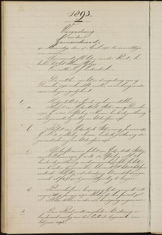 Teteringen - Notulen en bijlagen van de gemeenteraad 1893