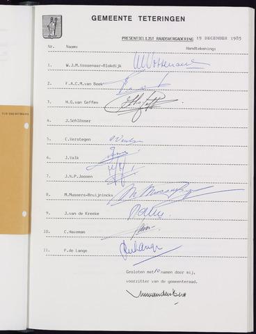 Teteringen - Notulen en bijlagen van de gemeenteraad 1985-12-19