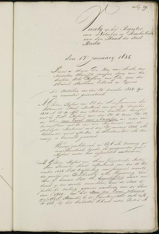 Breda - Notulen van de gemeenteraad 1835-01-01