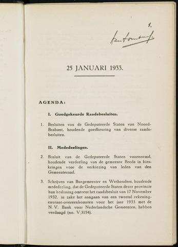 Breda - Notulen van de gemeenteraad 1933