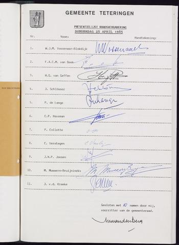 Teteringen - Notulen en bijlagen van de gemeenteraad 1985-05-30