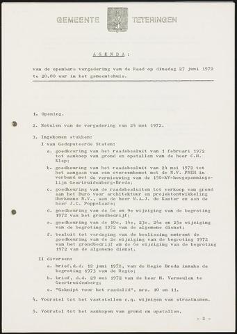 Teteringen - Notulen en bijlagen van de gemeenteraad 1972-06-27
