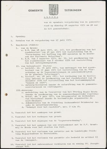 Teteringen - Notulen en bijlagen van de gemeenteraad 1971-08-24