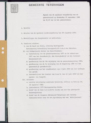 Teteringen - Notulen en bijlagen van de gemeenteraad 1980-09-25