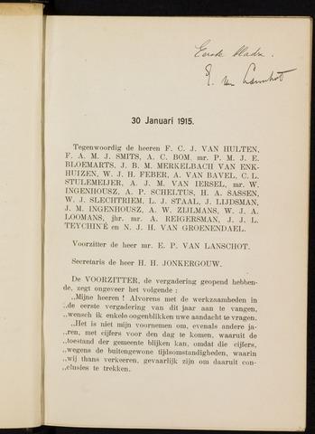 Breda - Notulen van de gemeenteraad 1915-01-01